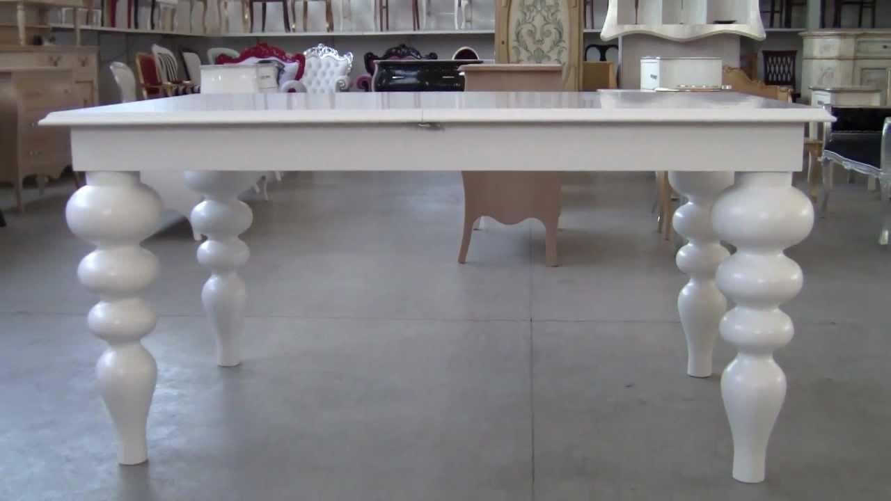 Tavolo con Gambe Tornite Laccato Bianco Opaco - YouTube