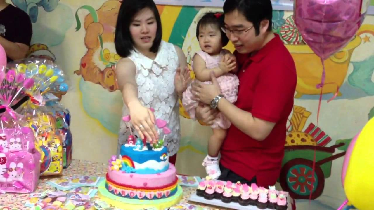 Caroline 1 year old Birthday Party Carebear Theme YouTube
