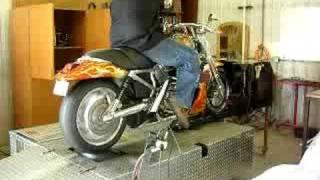 harley v rod with turbo on dyno