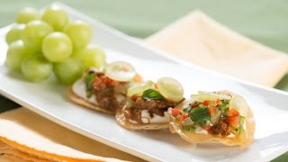 Mini Tostadas With Ancho Chile Chicken And Spicy Green Grape Salsa