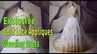 2018 Plus Size Boho Vintage Wedding Dress - Gold Lace Appliques Weeding Dress #AliExpress