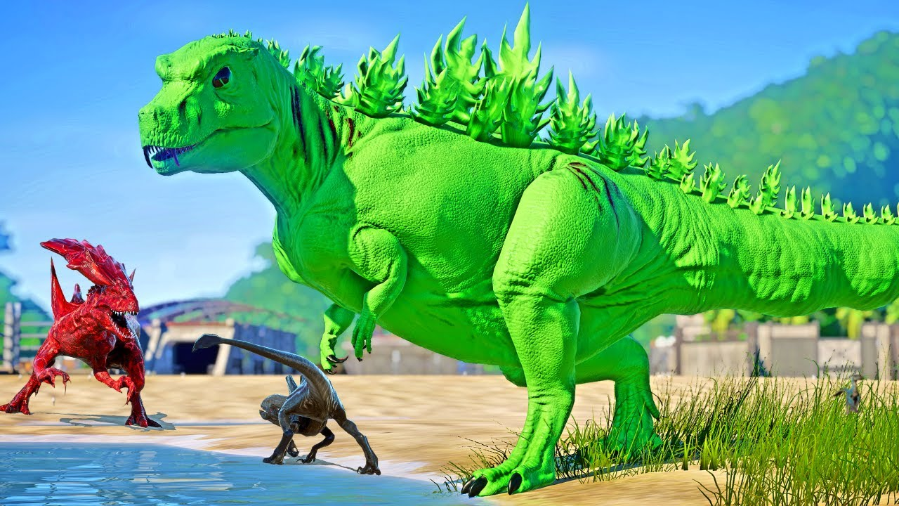 Download Green Alien Godzilla VS Alien Queen I-Rex VS Alien T-REX vs Xenomorph Dinosaurs Fighting - JWE Mods