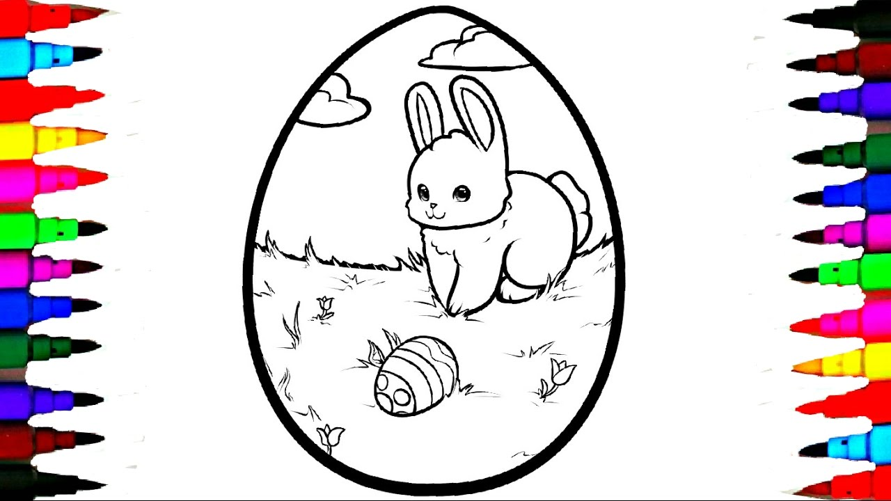 Coloring GIANT Easter Egg Coloring Page Videos For Children Learning  Rainbow Coloring Markers