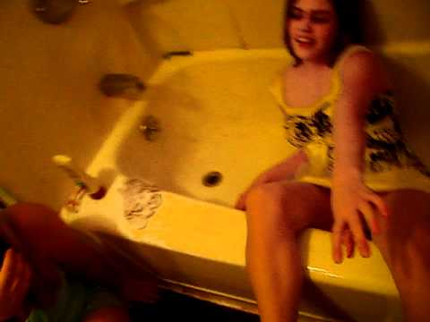 Girl Falls In Bath Tub