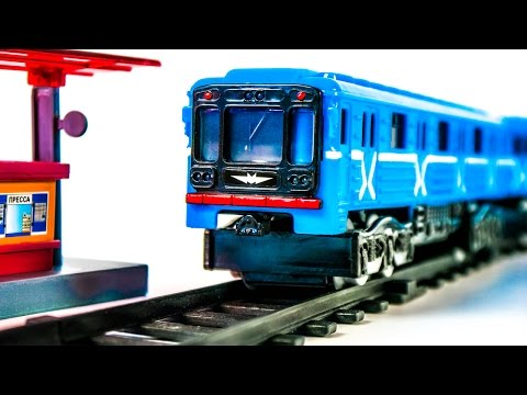 Train Metro with Blue Wagon Russian Moscow Metro Toys VIDEO FOR CHILDREN