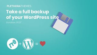 Take a full backup of your WordPress site