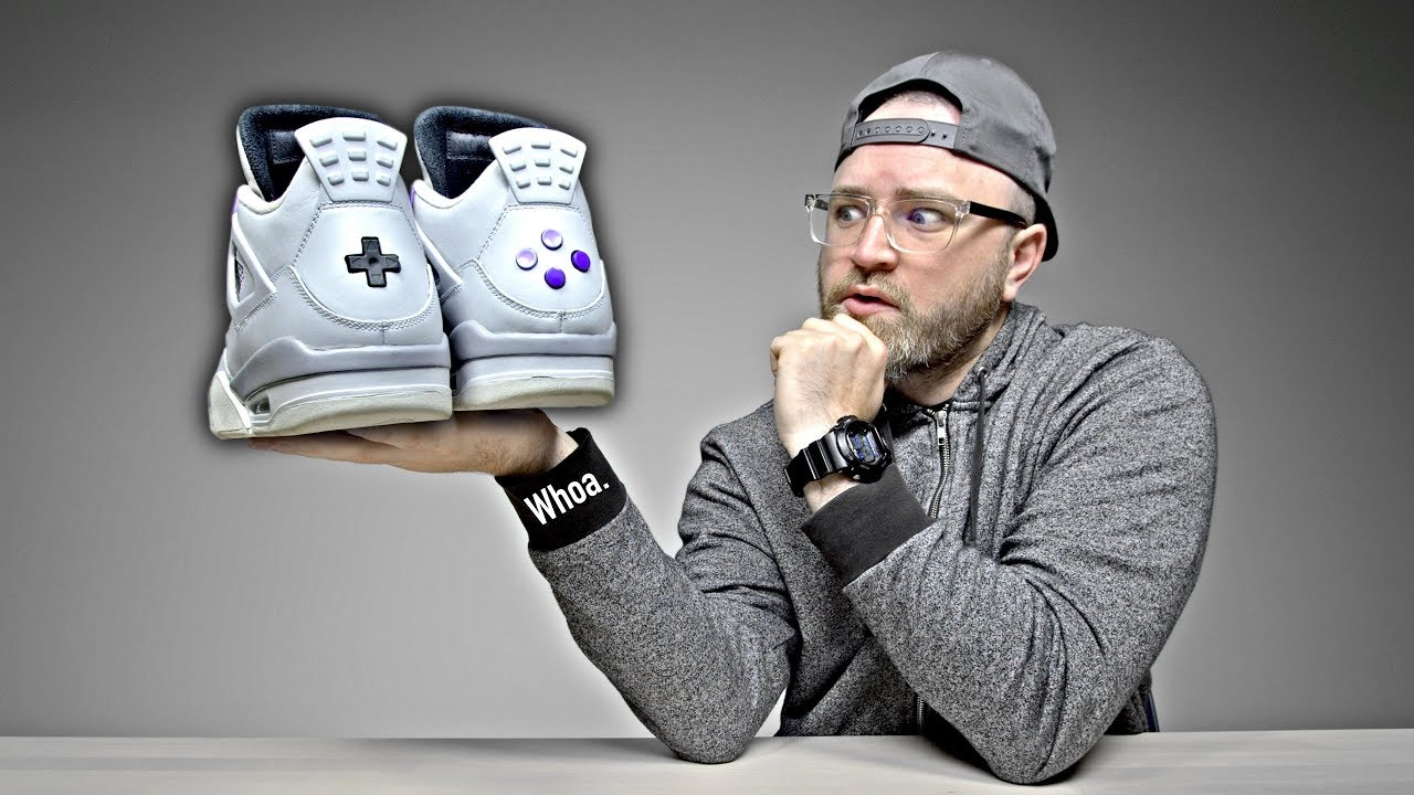 a9cc9243cdda5 Unboxing The Ultra Rare Nintendo Jordans (The Buttons Actually Click!)