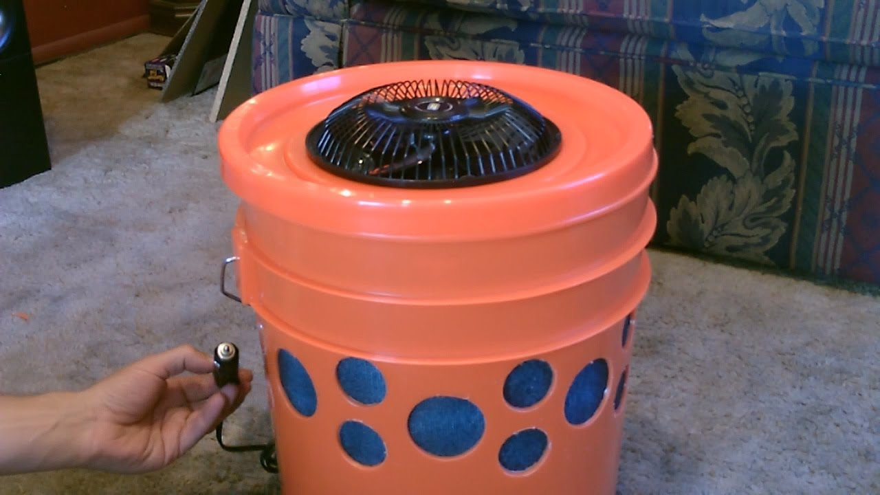"homemade evap. air cooler - the ""5 gallon bucket"" swamp cooler! diy"
