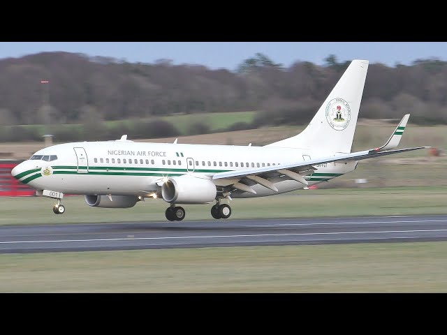 [4K] Nigerian Air Force Boeing 737-700BBJ Landing at Prestwick Airport