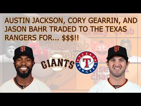 San Francisco Giants Trade Austin Jackson, Cory Gearrin and Jason Bahr to the Texas Rangers
