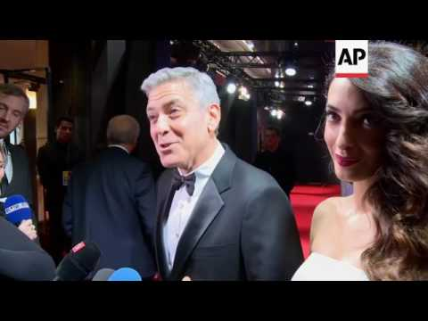 Amal Clooney shows her bump on red carpet at the Cesar Awards where husband George will receive hono