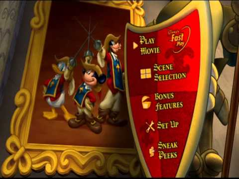 The Three Musketeers (Mickey/Donald/Goofy) [UK DVD Menu ...