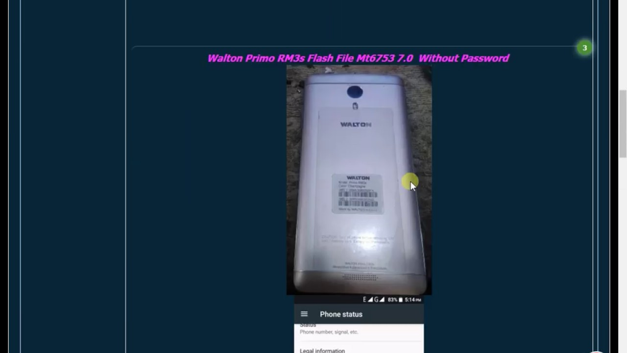 Walton Primo RM3s Flash File Mt6753 7.0  Without Password