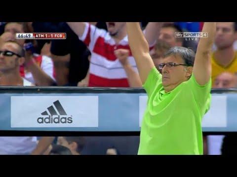 Tata Martino's Reaction to Neymar Goal  Atletico Madrid vs Barcelona, 21-08-13