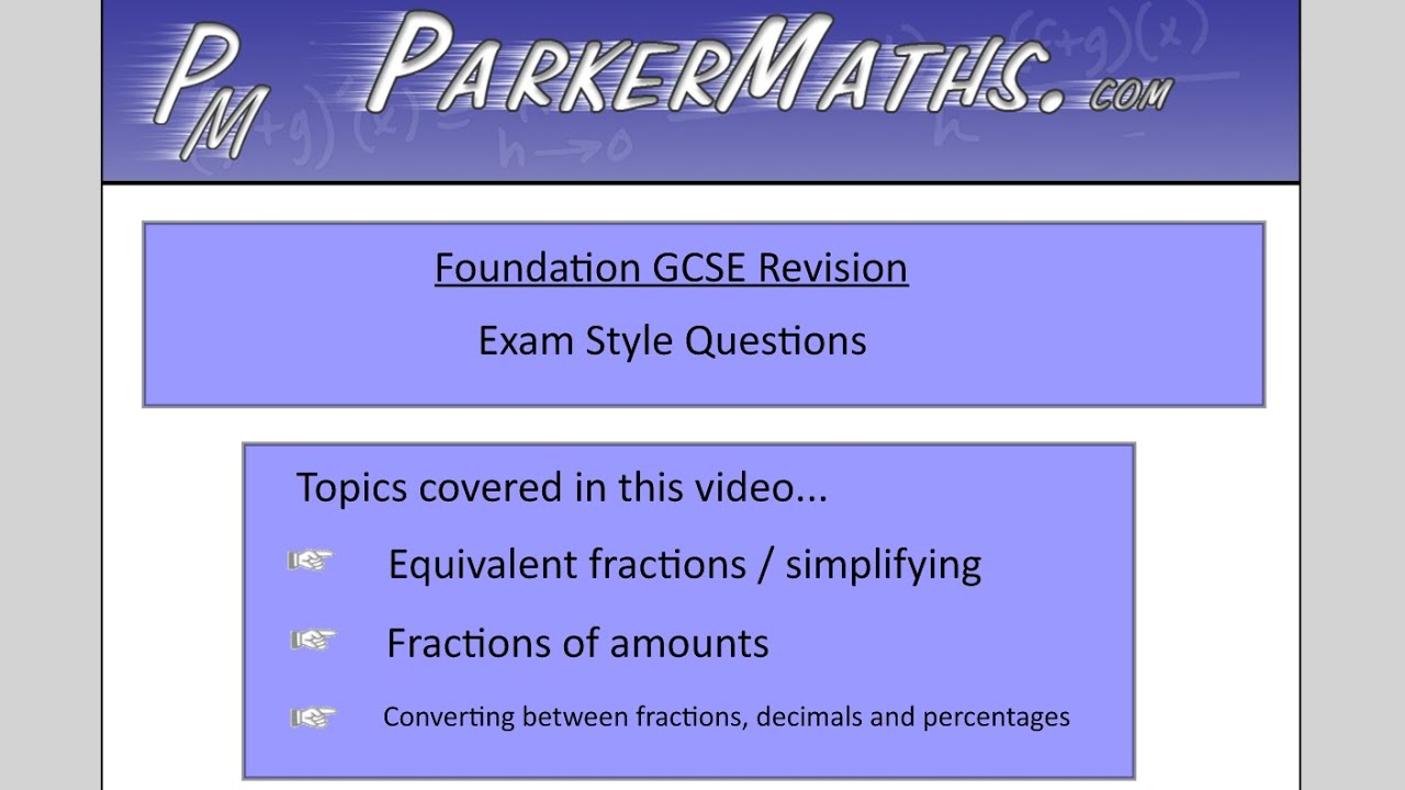 Fractions Decimals Percentages Foundation Gcse Exam Style