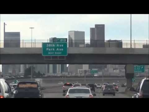 HD Denver Skyline from I  25 SB going to Rockies Coors Field