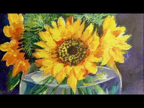 Bringing Life to Your Still Lifes - Sunflowers in a Glass Vase Acrylic Painting for Beginners