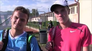 Vitalij Sačko a Ondřej Krstev po prvním kole deblu na turnaji Futures v Ústí n. O.