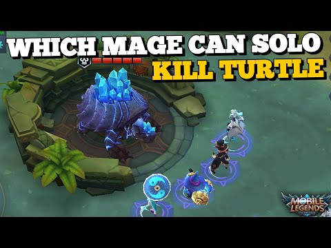WHICH MAGES CAN SOLO KILL TURTLE AT LVL 4 WITH ONLY ONE ITEM ?! MOBILE LEGENDS EXPERIMENT