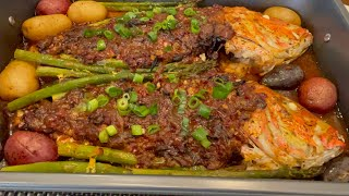Spicy &amp Tasty Oven Grilled Red Sniper Recipe أطيب سمك حار مشوي  بالفرن بتتبيله مميزه
