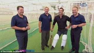 The  moment Shane Warne bowls cricket ball right into NRL legend Andrew Johns' crotch