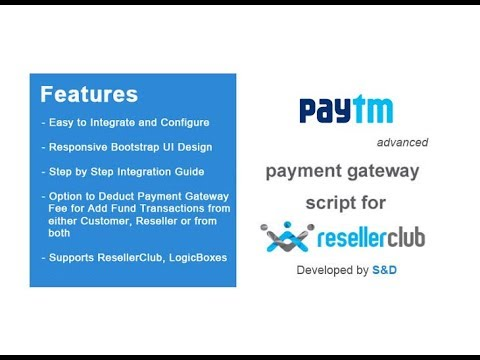 Custom Paytm Payment Gateway for ResellerClub/LogicBoxes