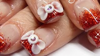 How to acrylic nails - 3D bow and red sparkles