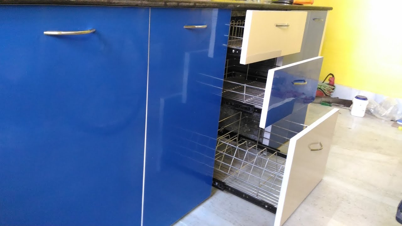 Blue And Ivory Colour Modular Kitchen Youtube