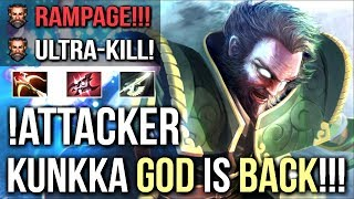 Attacker BEST Kunkka is Back! Epic Rampage 15 Min Godlike Crazy Armlet Toggle Gameplay 7.09 Dota 2