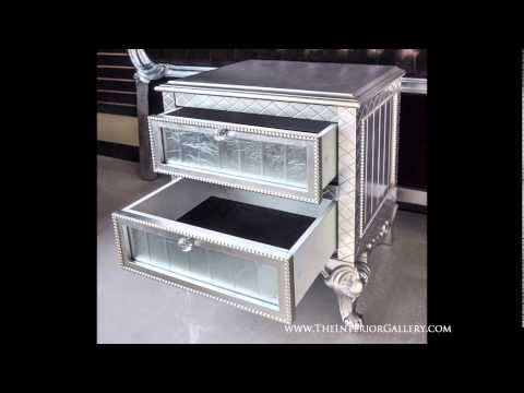 Modern Night Stand - Silver Leafing Finish - Geneve