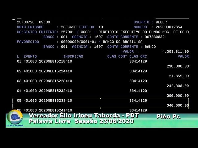 Vereador  Élio Irineu Taborda PDT Palavra Livre Sessão  23 06 2020