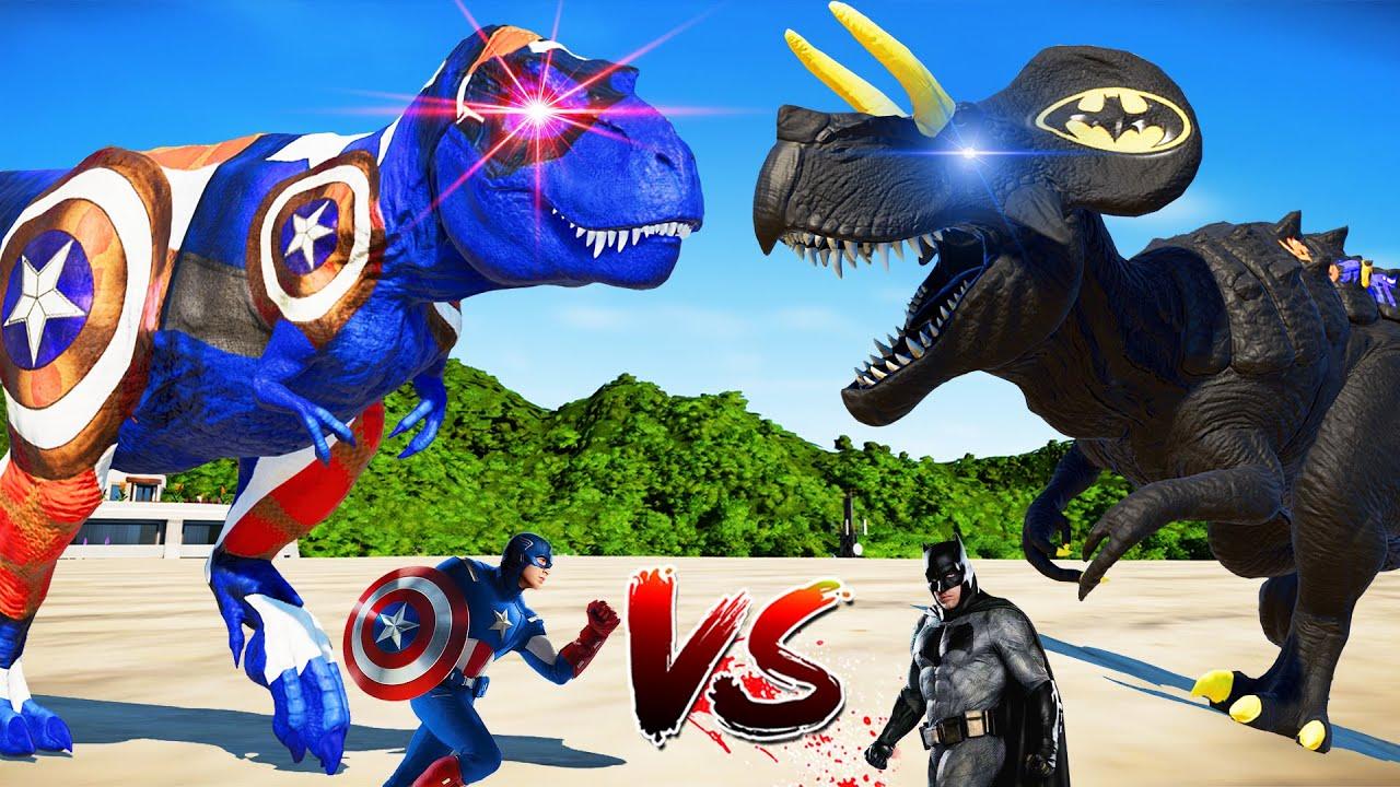Download Batman Ultimasaurus vs Captain America Tyrannosaurus Dinosaurs Fight �Jurassic World Evolution