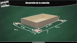 Optimización. Cálculo del volumen máximo de una caja sin tapa a partir de una cartulina.