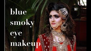 bridal makeup blue smoky eye makeup  gurukul: Anurag makeup mantra, +919920127706,+919830056328