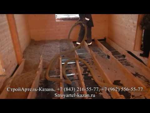 Задувка эковаты в пол и Обзор 1 этажного дома из двойного бруса, Альметьевск
