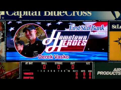 Hometown Hero - Derek Vasko- Iron Pigs Baseball Stadium April 6 2012