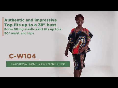 Traditional Print Short Skirt & Top