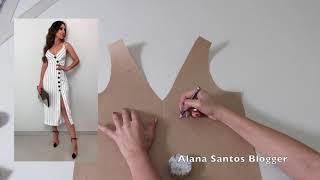 Aula - molde vestido botões diagonal   Alana Santos Blogger