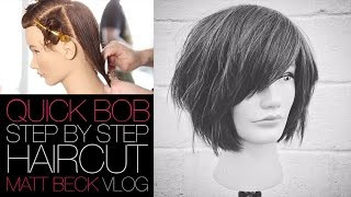 Cutting A Quick Bob Haircut on Curly or Straight Hair | MATT BECK VLOG 019