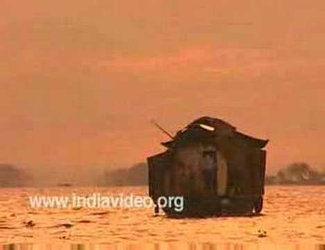 A houseboat in an evenfall