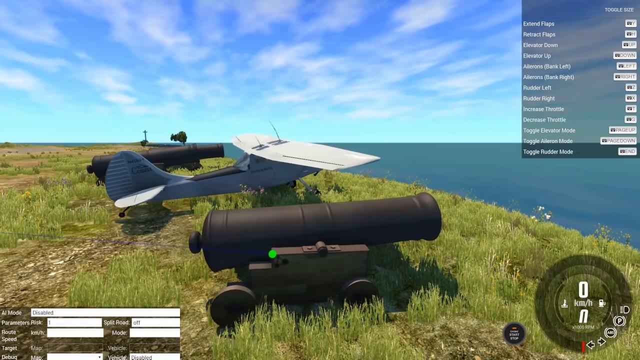Сбиваем самолеты пушками времен динозавров в beamng drive! Пушка vs самолет