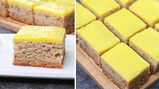 Banana Custard Cake Recipe | Eggless & Without Oven | Yummy