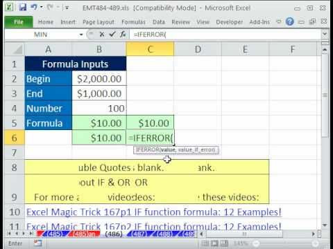 Excel Magic Trick 486: Avoid #DIV/0! Error in Formula 4 Examples (Divide By Zero Error)