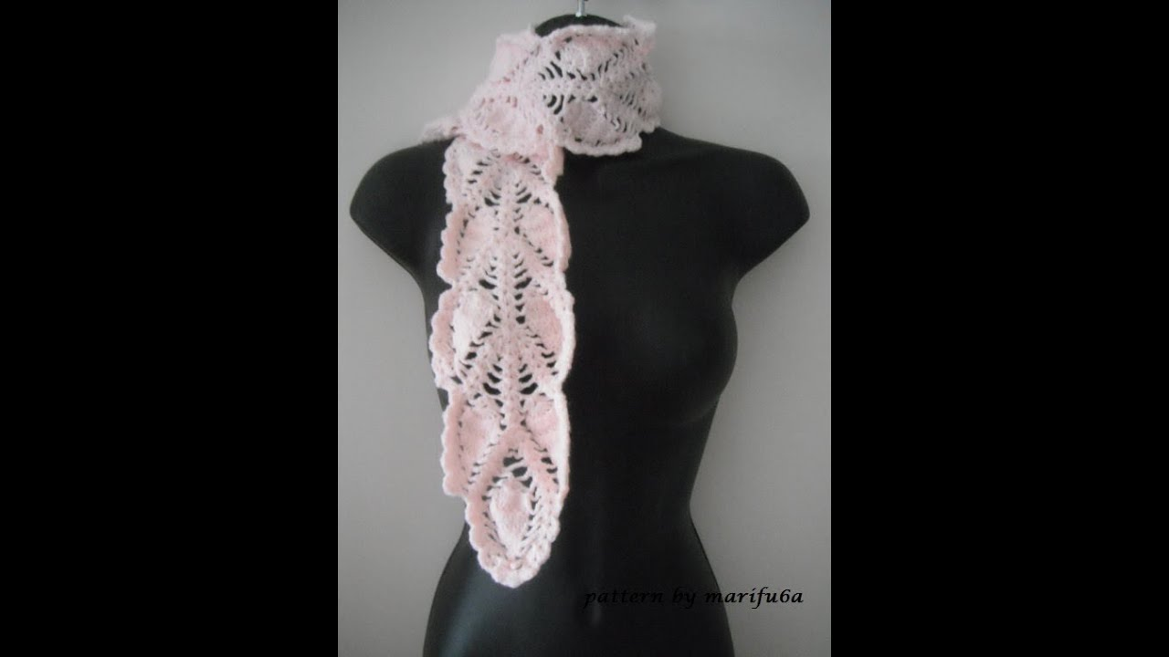 how to crochet pineapple scarf free pattern tutorial - YouTube