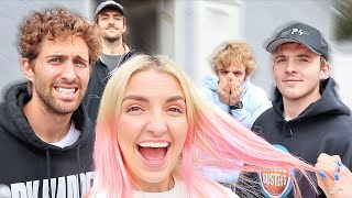 Brothers & Boyfriend React To My PINK HAIR!