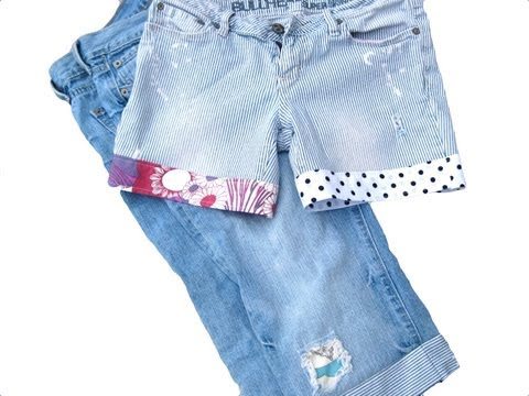 How to Turn Jeans into Shorts or Capris with Fabric Cuffs in 20 minutes!