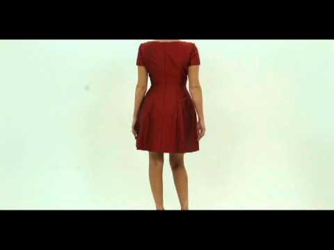 Oscar de la Renta Pink Label Red Silk Jeweled Bow Dress Size 8