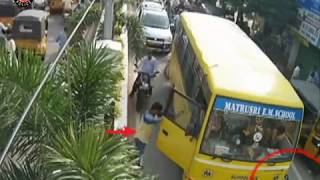 School Bus Hits Bike Accident   Caught By CCTV in Tirupati   Live Accidents in India