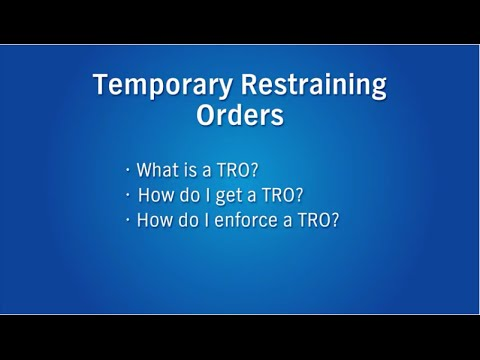 Temporary Restraining Order: District Court & Family Court