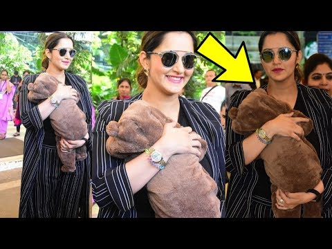 Tennis player Sania Mirza seen first time with newborn cute son Izhaan at Airport